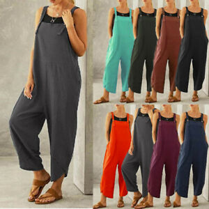 Womens Loose Dungarees Buttons Trousers Overalls Ladies Tops Autumn Jumpsuit UK