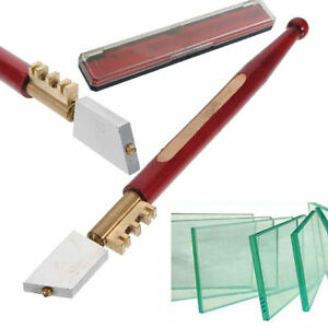 High Quality Diamond Tipped Glass Cutter + Storage Case Mirror Slice Cutting UK