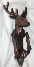 LARGE & HEAVY Cast Iron Deer /  Elk Head Door Knocker Bronze Finish