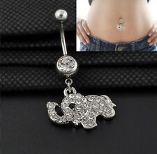 Hot Cute Steel Csytal Elephant Dangle Navel Belly Button Ring Bar Body Piercing