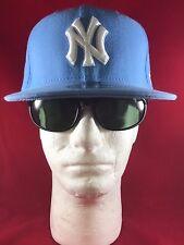 New Era 59Fifty MLB NY Yankees Fitted Baby Blue Wth White NY Isignia On Flat Hat