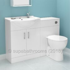 Bathroom Furniture Suite 1150mm Vanity Unit Basin Back to Wall Toilet WC Laura