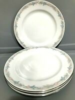 Illusions By Excel Scene 1 Set of 4 Dinner Plates Floral Silver Trim 10 1/2""