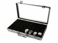 Vitrina caja maletin guarda 24 relojes en aluminio black