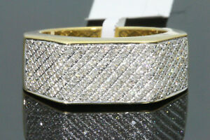 10K YELLOW GOLD .53 CARAT MENS REAL DIAMOND ENGAGEMENT WEDDING PINKY RING BAND