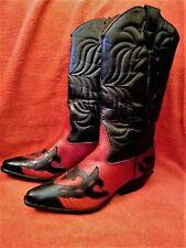 Western boots, FLINGS Sundance, red & black, vintage - pristine! Size 8