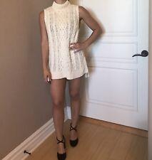 NWT $298 Knitted Ralph lauren Turtle Neck Cream Sweater Dress
