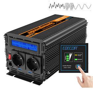 Portable 1500W Off Grid Converter DC12V To AC 220V Pure Sine Wave Power Inverter