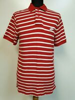 WOMENS NIKE RED WHITE STRIPED SLIM FIT POLO T SHIRT LARGE L 12 EU 40