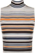 Gestreifte ärmellose Damenblusen, - tops & -shirts aus Polyester mit Stretch