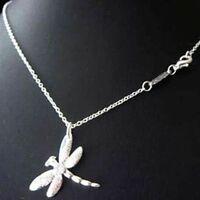 ASAMO Damen Halskette mit Libellen Anhänger 925 Sterling Silber plattiert H1011