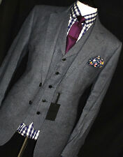 BNWT Homme Duchamp London Tailored Donegal Tweed bleu marine gris 3 Pièce Costume 42R W36