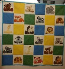 One of a Kind Handmade Baby Animals Embroidered/Applique finished Quilt 46x46