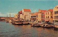 Willemstadt Curacao Netherland Antilles 1950s Postcard Waterfront Stores