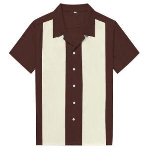Men Shirts Retro Hip hop Casual Rockabilly Bowling Shirt Cinnamon&Ivory