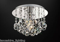 Chrome & Brass Crystal Flush Ceiling light fittings on a Round or Square LED