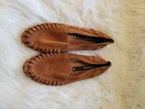 MATT BERNSON - Women's Mezcal Flat Loafers Suede Leather Cobalt cognac- Sz 8.5