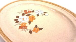 """Crown Manor 16"""" Platter 1960's Hand Painted Autumn Blossom Stoneware Japan"""