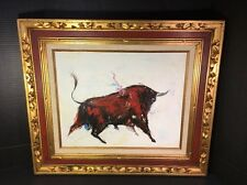 """Oil On Canvas Beautiful Picture Of Italian Red Bull Pro Gold 1.5""""Framed 28Wx24L"""