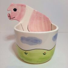 Hand Decorated Ceramic Pink Pig Planter - Andrea West For Sigma The Tastesetter