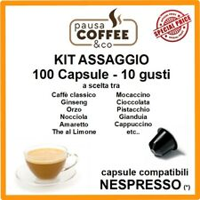 KIT ASSAGGIO 100 capsule NESPRESSO: Caffè, Ginseng, Nocciola, Pistacchio,etc