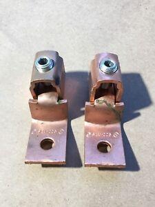 2x ILSCO 4/0-2 LIST COMB COPPER MECHANICAL LUG V-BOTTOM COLLAR