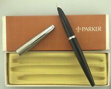 Parker 45 Black Fountain Pen Medium Nib New Old Stock Boxed