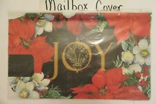 """Magnetic Mailbox Cover """"Joy"""" Poinsettia Flowers, Christmas Holiday, Winter"""