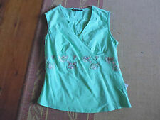 LADIES CUTE GREEN EMBROIDERY V NECK COTTON SLEEVELESS TOP BY TEMT SIZE 10 CHEAP
