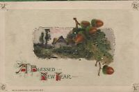 Antique Vintage Postcard 1913 John Winsch Blessed New Year Acorns Glitter Accent