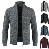 Mens Winter Funnel Collar Zip Up Fleece Lined Knitted Warm Cardigan Jumper Top