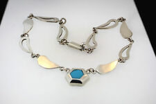 925 MEXICO TR-JTC?? MOD DESIGN LINK NECKLACE w/TURQUOISE CAB IN OCTAGON PENDANT