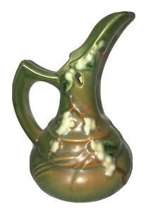 "FANTASTIC ROSEVILLE ART POTTERY 1940's GREEN SNOWBERRY 6"" EWER #1TK-6"