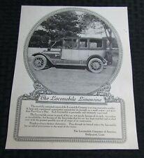 "Vintage THE LOCOMOBILE LIMOSINE 8.25x10.5"" Automobile Print Ad FN 6.0"