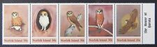 1984 Norfolk Island Stamps - Norfolk Island Boobook Owl - Set of 5 - Tab MNH