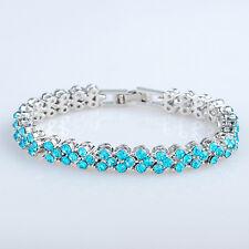 Women's Silver Plated Blue Zircon Crystal Bracelet Charm Bangle Fashion Jewelry