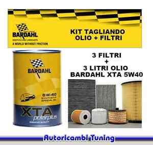 Set Entretien Huile Bardahl 5W 40 + 3 Filtres Fiat 500 1.2 8V 51 Kw 69CV Du