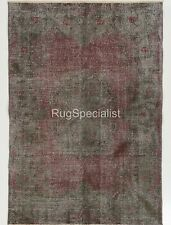 One of a Kind Distressed Midcentury Rug Overdyed in Gray Color