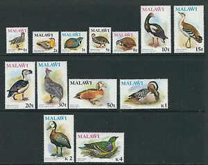 MALAWI 1975 BIRDS definitives long set complete (Scott 233-45) VF MNH