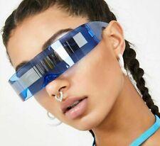 Wrap Around Futuristic Sunglasses Robot Cyclops Goggle Space Party Alien Glasses