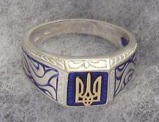 Unisex St. Silver with Ukrainian 14k Gold Trident Tryzub Ring, Blue Enamel Size8