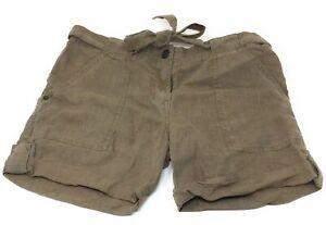 Sanctuary Womens Casual Drawstring Linen Shorts Olive Green Size 28 Waist