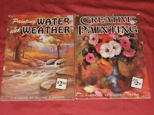 LOT of 2 Vintage WALTER T. FOSTER Art Books Instructional  Painting WATER Weathe