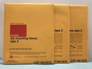 """3 PACKETS SEALED KODAK 8"""" x 10"""" DRY MOUNTING TISSUE TYPE 2  (75 SHEETS TOTAL)"""