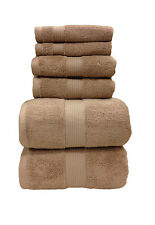 6-PC Solid Plush Taupe Towels, 100% Cotton Ultra-Soft & Pretty Towels Set!