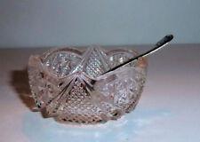 Pressed Glass OPEN SALT w. Sterling Silver Spoon 1920s Sunburst Pattern