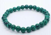 Malachite Bracelet Round Beads Gemstone Healing Stone Yoga 6mm Reiki