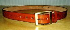 Vintage Hand Tooled Tan Leather Belt Interchangeable Buckle Sz 36 Arrow Moccasin