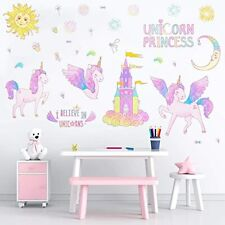 4 Sheets Unicorn Wall Stickers for Kids Girls Removable Wall Decal Decor