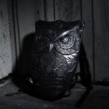 ByTheR Black R-90 Faux Leather Owl Embossed Backpack Korea Fashion Designed Bag